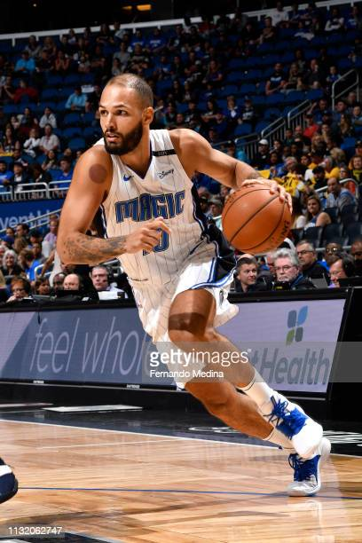 Evan Fournier of the Orlando Magic drives to the basket against the Memphis Grizzlies on MARCH 22 2019 at Amway Center in Orlando Florida NOTE TO...