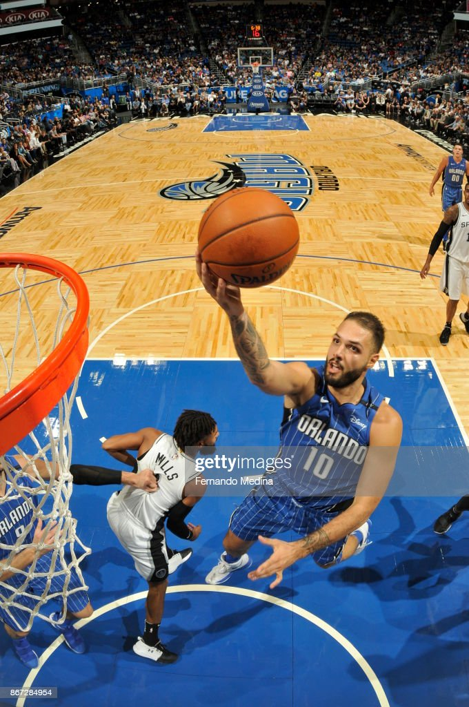 Evan Fournier #10 of the Orlando Magic drives to the basket against the San Antonio Spurs on October 27, 2017 at Amway Center in Orlando, Florida.