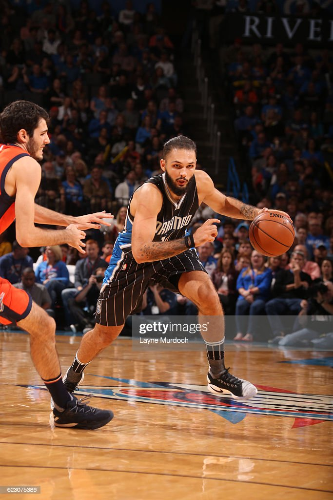 Evan Fournier #10 of the Orlando Magic drives to the basket during a game against the Oklahoma City Thunder on November 13, 2016 at Chesapeake Energy Arena in Oklahoma City, Oklahoma.