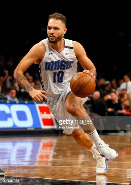 Evan Fournier of the Orlando Magic drives to the basket in an NBA basketball game against the Brooklyn Nets on January 1 2018 at Barclays Center in...