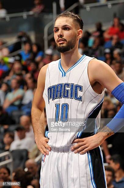 Evan Fournier of the Orlando Magic during the game against the Chicago Bulls on March 26 2016 at Amway Center in Orlando Florida NOTE TO USER User...