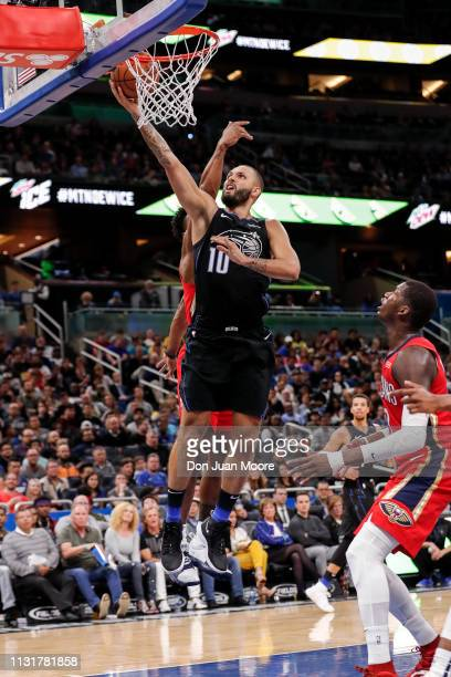 Evan Fournier of the Orlando Magic goes up for a score during the game against the New Orlean Pelicans at the Amway Center on March 20 2019 in...