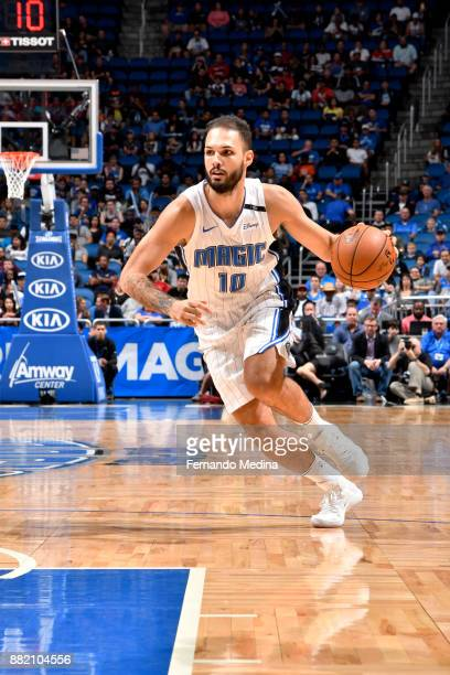 Evan Fournier of the Orlando Magic handles the ball against the Oklahoma City Thunder on November 29 2017 at Amway Center in Orlando Florida NOTE TO...