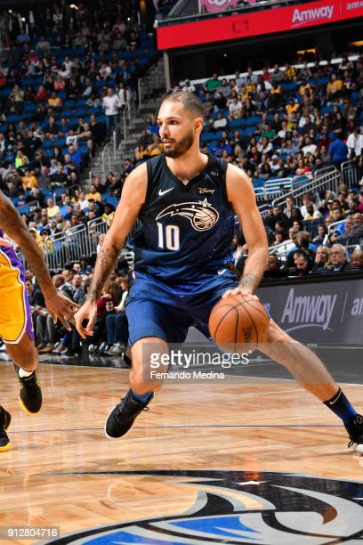 Evan Fournier of the Orlando Magic handles the ball against the Los Angeles Lakers on January 31 2018 at Amway Center in Orlando Florida NOTE TO USER...