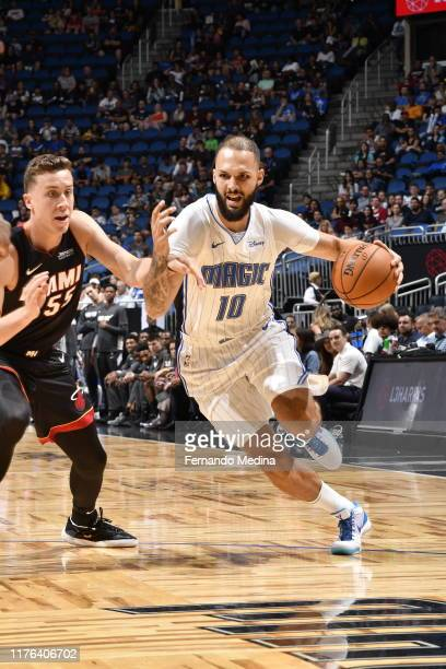 Evan Fournier of the Orlando Magic handles the ball against the Miami Heat during a preseason game on October 17 2019 at Amway Center in Orlando...