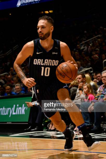 Evan Fournier of the Orlando Magic handles the ball against the Miami Heat on December 30 2017 at Amway Center in Orlando Florida NOTE TO USER User...