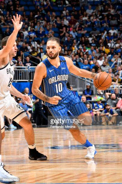 Evan Fournier of the Orlando Magic handles the ball against the Brooklyn Nets on October 24 2017 at Amway Center in Orlando Florida NOTE TO USER User...