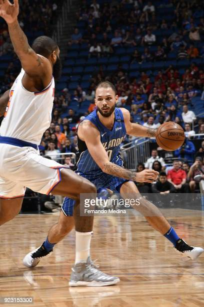 Evan Fournier of the Orlando Magic handles the ball against the New York Knicks on February 22 2018 at Amway Center in Orlando Florida NOTE TO USER...