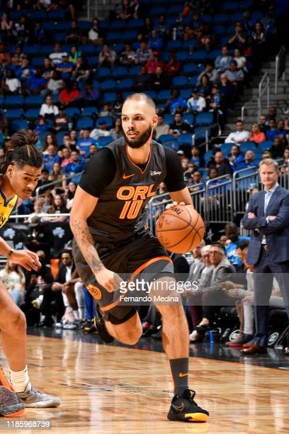 Evan Fournier of the Orlando Magic handles the ball against the Golden State Warriors on December 1 2019 at Amway Center in Orlando Florida NOTE TO...