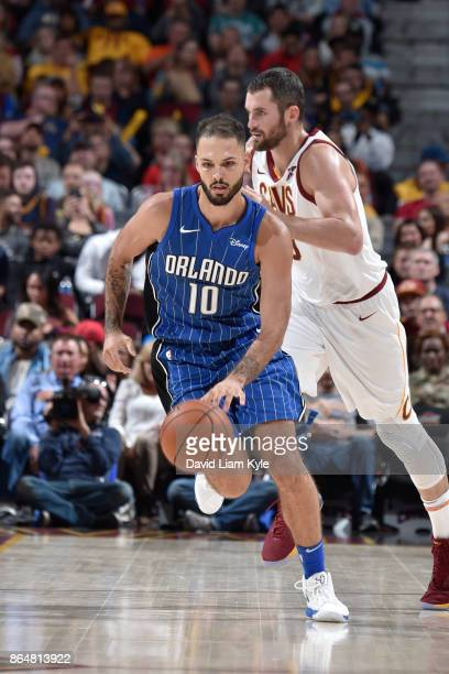 Evan Fournier of the Orlando Magic handles the ball against the Cleveland Cavaliers on October 21 2017 at Quicken Loans Arena in Cleveland Ohio NOTE...