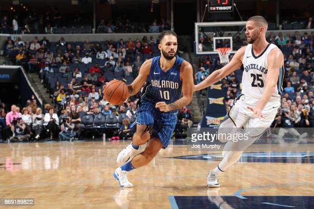 Evan Fournier of the Orlando Magic handles the ball against the Memphis Grizzlies on November 1 2017 at FedExForum in Memphis Tennessee NOTE TO USER...