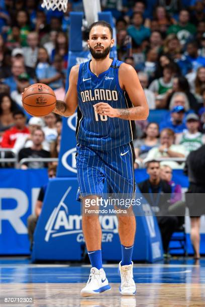 Evan Fournier of the Orlando Magic handles the ball against the Boston Celtics on November 5 2017 at Amway Center in Orlando Florida NOTE TO USER...