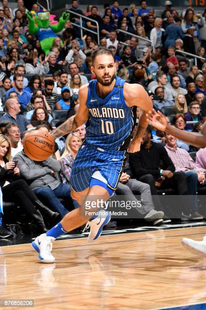 Evan Fournier of the Orlando Magic handles the ball against the Indiana Pacers on November 20 2017 at Amway Center in Orlando Florida NOTE TO USER...
