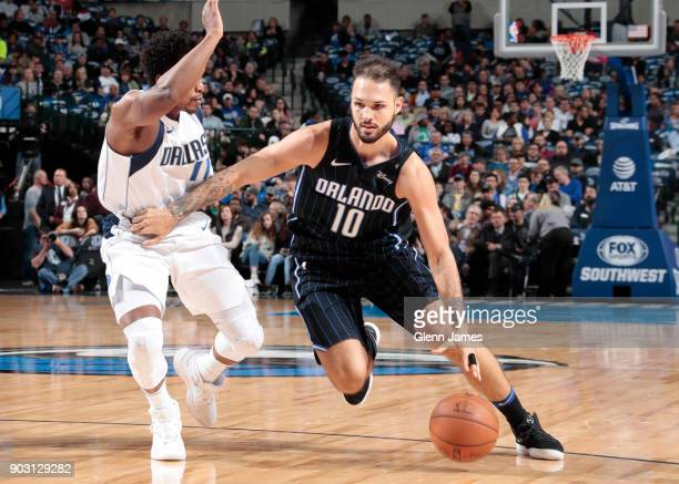 Evan Fournier of the Orlando Magic handles the ball against the Dallas Mavericks on January 9 2018 at the American Airlines Center in Dallas Texas...
