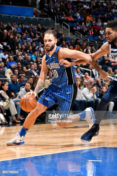Evan Fournier of the Orlando Magic handles the ball against the Minnesota Timberwolves on January 16 2018 at Amway Center in Orlando Florida NOTE TO...