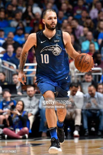 Evan Fournier of the Orlando Magic handles the ball against the Cleveland Cavaliers on February 6 2018 at Amway Center in Orlando Florida NOTE TO...