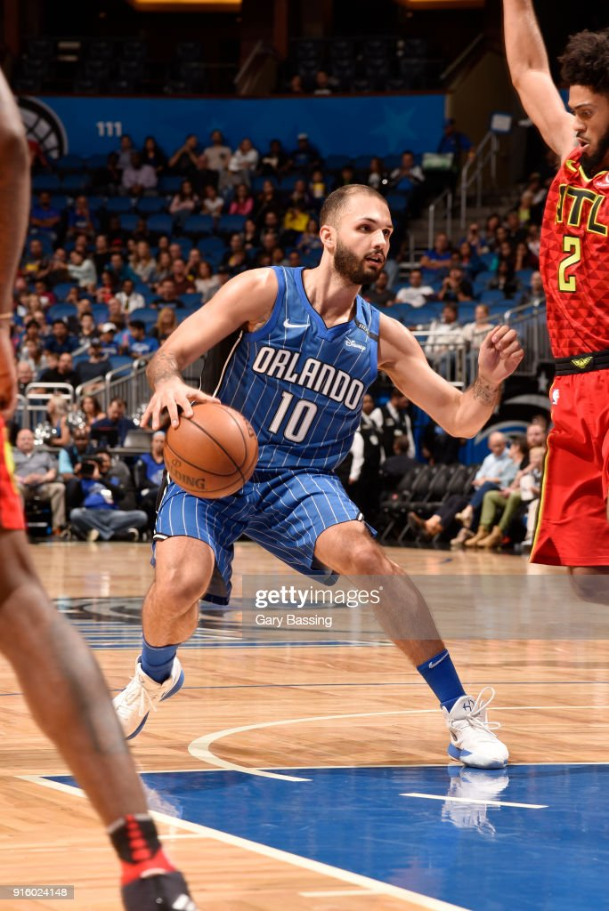 Evan Fournier #10 of the Orlando Magic handles the ball against the Atlanta Hawks on February 8, 2018 at the Amway Center in Orlando, Florida.
