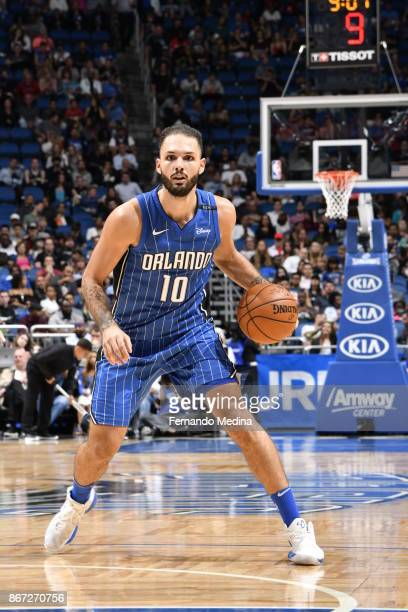 Evan Fournier of the Orlando Magic handles the ball against the San Antonio Spurs on October 27 2017 at Amway Center in Orlando Florida NOTE TO USER...
