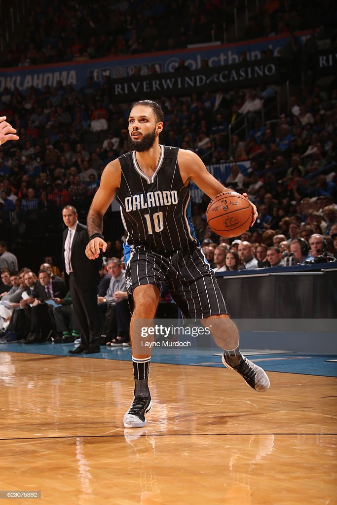 Evan Fournier #10 of the Orlando Magic handles the ball during a game against the Oklahoma City Thunder on November 13, 2016 at Chesapeake Energy Arena in Oklahoma City, Oklahoma.