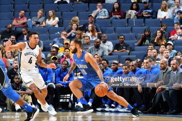 Evan Fournier of the Orlando Magic handles the ball during the game against the Memphis Grizzlies during a preseason game on October 2 2017 at...
