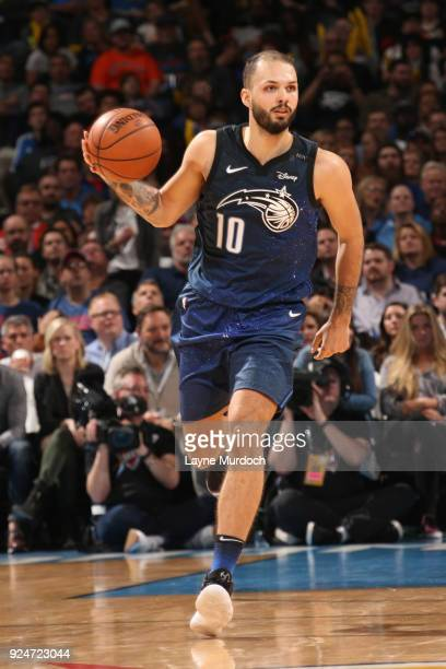 Evan Fournier of the Orlando Magic handles the ball during the game against the Oklahoma City Thunder on February 26 2018 at Chesapeake Energy Arena...