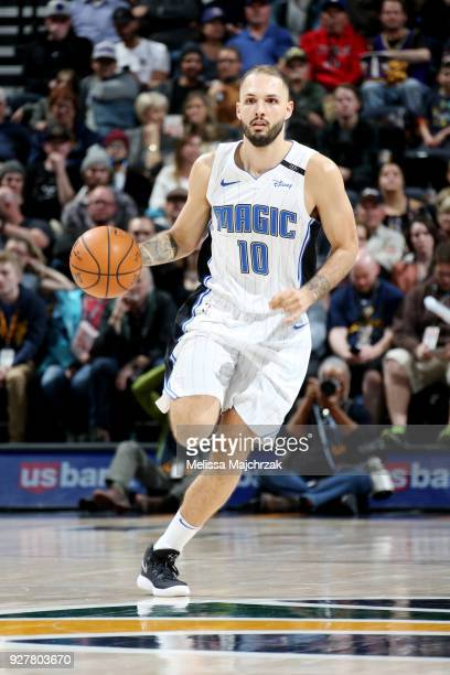 Evan Fournier of the Orlando Magic handles the ball during the game against the Utah Jazz on March 5 2018 at vivintSmartHome Arena in Salt Lake City...