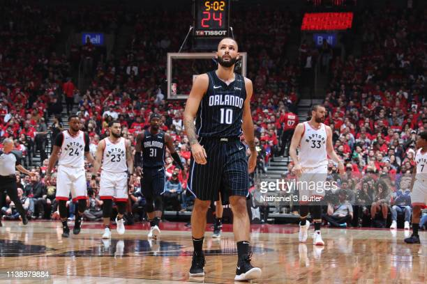 Evan Fournier of the Orlando Magic looks on against the Toronto Raptors during Game Five of Round One of the 2019 NBA Playoffs on April 23 2019 at...