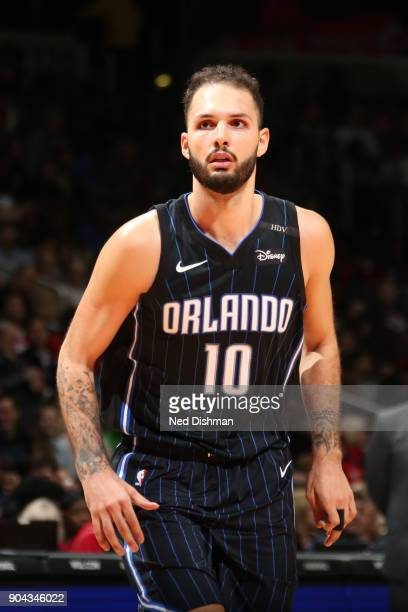 Evan Fournier of the Orlando Magic looks on during the game against the Washington Wizards on January 12 2018 at Capital One Arena in Washington DC...