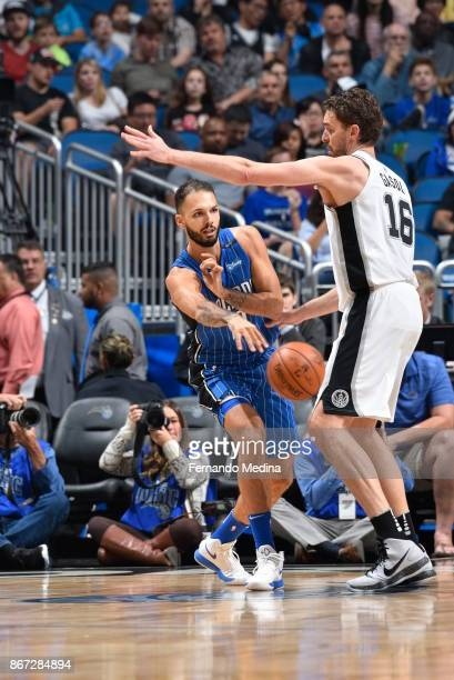 Evan Fournier of the Orlando Magic passes the ball against the San Antonio Spurs on October 27 2017 at Amway Center in Orlando Florida NOTE TO USER...