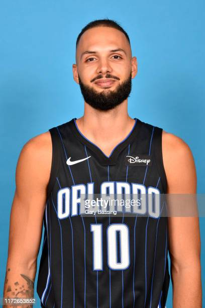 Evan Fournier of the Orlando Magic poses for a head shot during media day on September 30 2019 at the Amway Center in Orlando Florida NOTE TO USER...