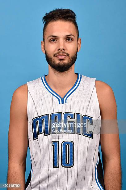 Evan Fournier of the Orlando Magic poses for a headshot during NBA Media Day on September 25 2015 at Amway Center in Orlando Florida NOTE TO USER...
