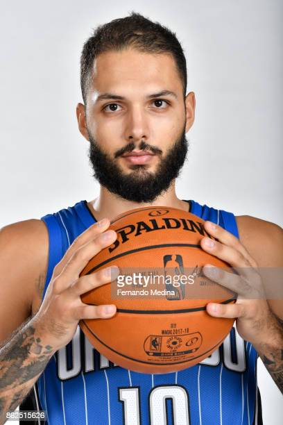 Evan Fournier of the Orlando Magic poses for a portrait during Magic Media Day 2 on October 6 2017 at Amway Center in Orlando Florida NOTE TO USER...