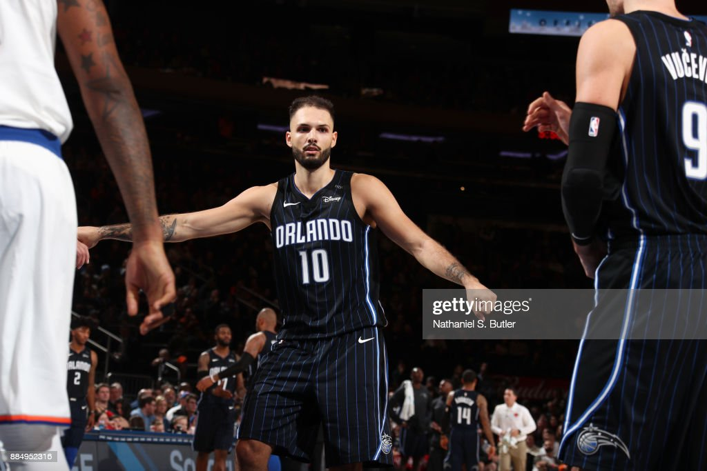 Evan Fournier #10 of the Orlando Magic reacts after shooting a free throw during the game against the New York Knicks on December 3, 2017 at Madison Square Garden in New York, New York.