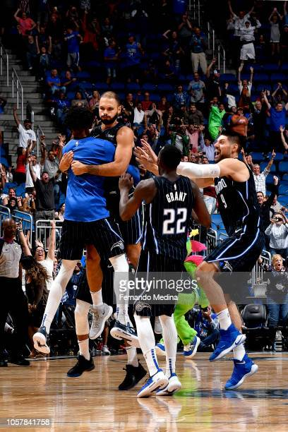 Evan Fournier of the Orlando Magic reacts after shooting the gamewinning shot against the Cleveland Cavaliers on November 5 2018 at Amway Center in...
