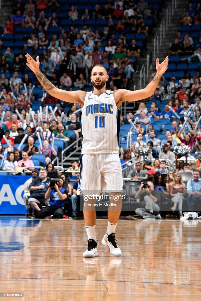 Evan Fournier #10 of the Orlando Magic reacts during game against the Charlotte Hornets on February 14, 2018 at Amway Center in Orlando, Florida.