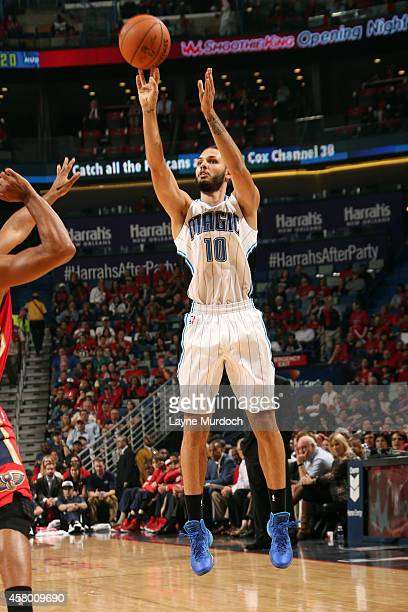 Evan Fournier of the Orlando Magic shoots against the New Orleans Pelicans on October 28 2014 at Smoothie King Center in New Orleans LA NOTE TO USER...