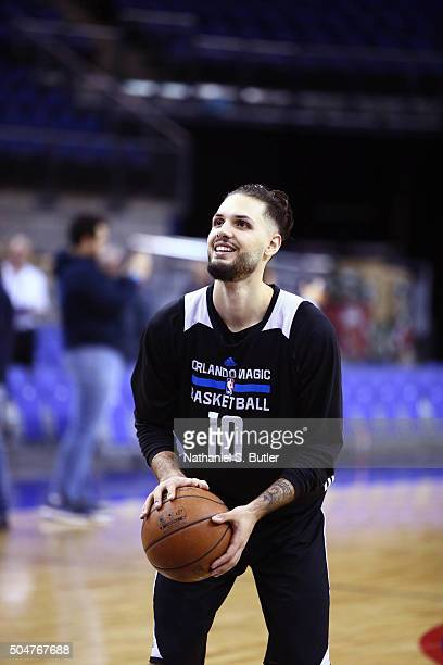 Evan Fournier of the Orlando Magic shoots during practice as part of the 2016 Global Games London on January 13 2016 at The O2 Arena in London...