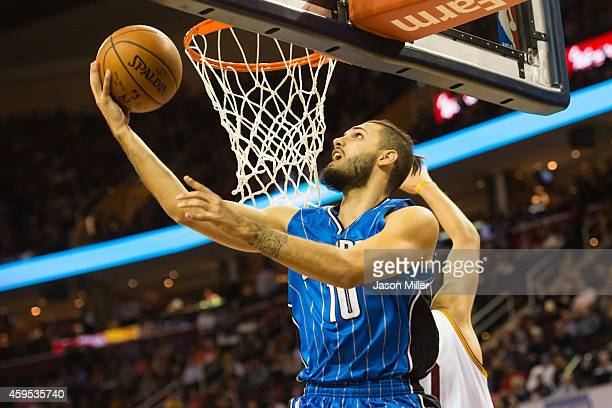 Evan Fournier of the Orlando Magic shoots during the first half against the Cleveland Cavaliers at Quicken Loans Arena on November 24 2014 in...