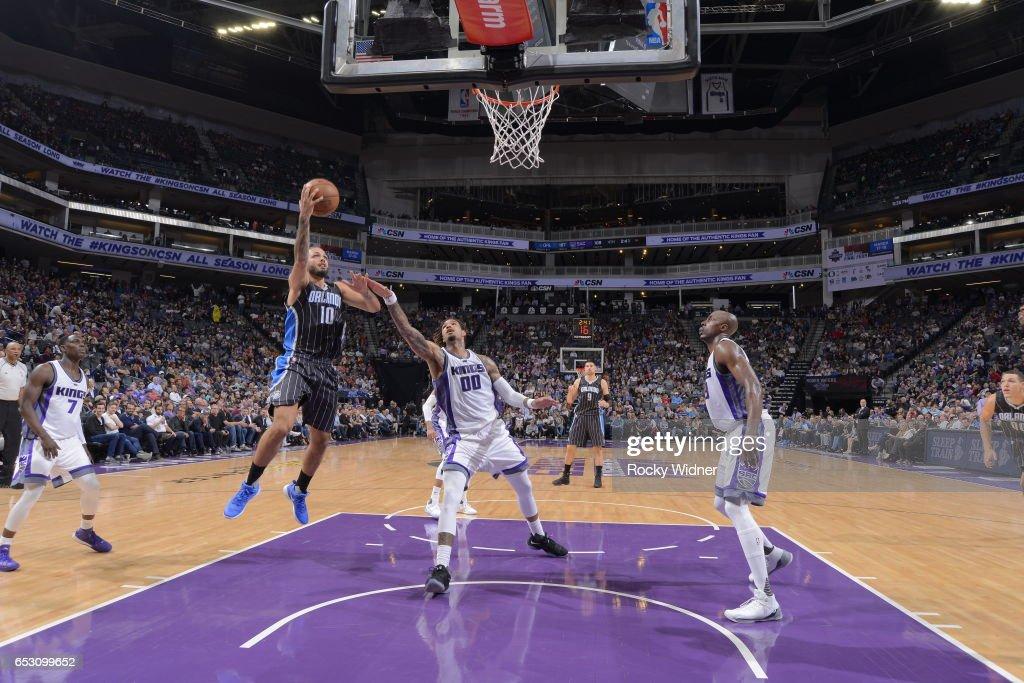 Evan Fournier #10 of the Orlando Magic shoots the ball against the Sacramento Kings on March 13, 2017 at Golden 1 Center in Sacramento, California.