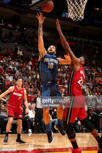 Evan Fournier of the Orlando Magic shoots the ball against the Miami Heat on December 26 2017 at American Airlines Arena in Miami Florida NOTE TO...