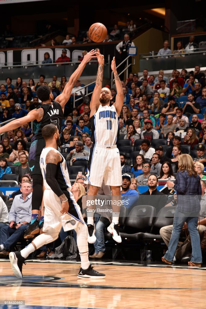 Evan Fournier #10 of the Orlando Magic shoots the ball against the Charlotte Hornets on February 14, 2018 at Amway Center in Orlando, Florida.