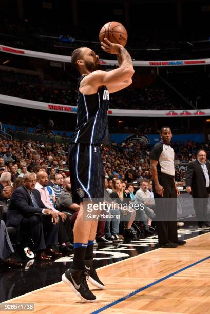 Evan Fournier of the Orlando Magic shoots the ball against the Detroit Pistons on March 2 2018 at Amway Center in Orlando Florida NOTE TO USER User...