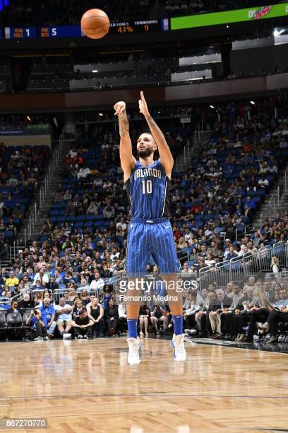 Evan Fournier of the Orlando Magic shoots the ball against the San Antonio Spurs on October 27 2017 at Amway Center in Orlando Florida NOTE TO USER...