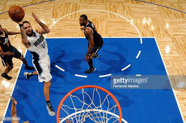 Evan Fournier of the Orlando Magic shoots the ball during a game against the Utah Jazz on November 11 2016 at the Amway Center in Orlando Florida...