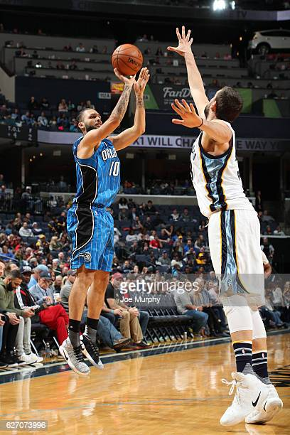 Evan Fournier of the Orlando Magic shoots the ball during a game against the Memphis Grizzlies on December 1 2016 at FedExForum in Memphis Tennessee...
