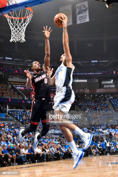 Evan Fournier of the Orlando Magic shoots the ball during the game against the Miami Heat on October 18 2017 at Amway Center in Orlando Florida NOTE...