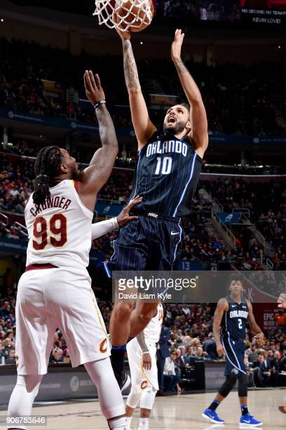 Evan Fournier of the Orlando Magic shoots the ball during the game against the Cleveland Cavaliers on January 18 2018 at Quicken Loans Arena in...