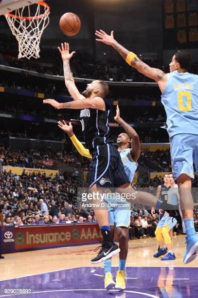 Evan Fournier of the Orlando Magic shoots the ball during the game against the Los Angeles Lakers at STAPLES Center on March 7 2017 in Los Angeles...