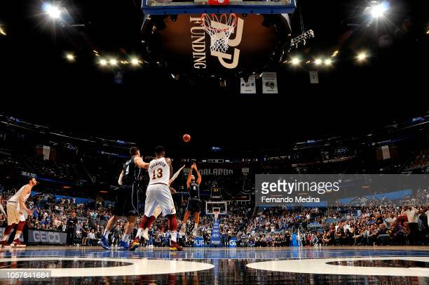 Evan Fournier of the Orlando Magic shoots the gamewinning shot against the Cleveland Cavaliers on November 5 2018 at Amway Center in Orlando Florida...