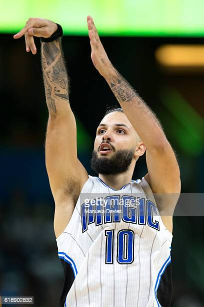 Evan Fournier of the Orlando Magic throws the ball against the Miami Heat on opening night on October 26 2016 at Amway Center in Orlando Florida NOTE...